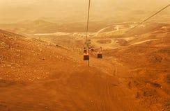 Elevators lift tourists to Mount Etna at sunrise, Sicily royalty free stock photo