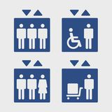Elevators sign set. Symbol passenger, freight elevators and lifts for the disabled, set vector icons Royalty Free Stock Image