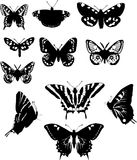 Eleven black and white butterflies Royalty Free Stock Photo