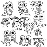 Eleven cartoon funny owl outlines. Set of eleven funny cartoon owl outlines with big eyes and with glasses isolated on the white background, vector illustration stock illustration