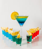 Eleven color shot drinks, red, blue and green kamikaze, drink in stock photos