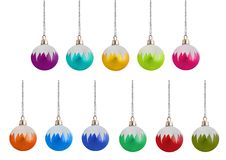 Eleven Frosted christmas Baubles. Eleven different colors of frosted glass christmas baubles Royalty Free Stock Image
