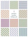 Eleven Geometric Seamless Backgrounds Stock Images