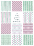 Eleven Geometric Seamless Patterns Stock Images