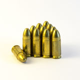 Eleven gold Bullets Stock Photography