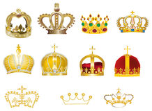Eleven gold crowns isolated on white Royalty Free Stock Image