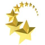 Eleven gold stars on white background. 3d model Stock Photo