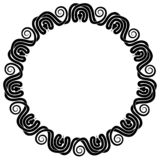 Eleven intertwined snakes circular ornament. Eleven intertwined snakes in circular ornament around copy space. Black and white frame stock illustration