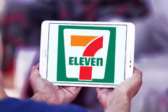 7-Eleven logo. Logo of the international chain of convenience stores 7-Eleven on samsung tablet Stock Photography