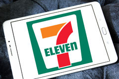 7-Eleven logo. Logo of the international chain of convenience stores 7-Eleven on samsung tablet Royalty Free Stock Image