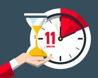 Eleven Minutes Time Symbol. Flat Design Clock Icon stock illustration