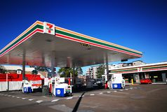 7 eleven petrol station with Mobil fuel pump at city of Penrith in the metropolitan area of Greater Western Sydney. SYDNEY, AUSTRALIA. - On July 16, 2019. - 7 royalty free stock photography