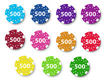 Eleven poker chips. Illustration of the eleven poker chips on a white background Stock Photography