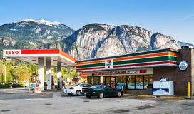 7-Eleven store and Esso gas station in Squamish Stock Photos