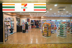 7-eleven store. SINGAPORE - CIRCA AUGUST, 2016: 7-eleven store at Singapore Changi Airport. Changi Airport is one of the largest transportation hubs in Southeast stock photo