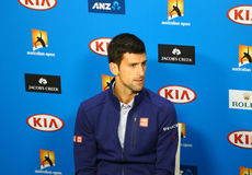 Eleven times Grand Slam champion Novak Djokovic during press conference after victory at Australian Open 2016. MELBOURNE, AUSTRALIA - JANUARY 31, 2016: Eleven Royalty Free Stock Photography