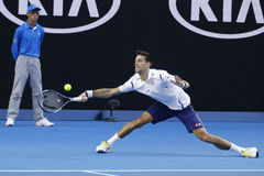 Eleven times Grand Slam champion Novak Djokovic of Serbia in action during his round 4 match at Australian Open 2016 Royalty Free Stock Image