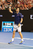 Eleven times Grand Slam champion Novak Djokovic of Serbia celebrates victory after his Australian Open 2016 quarterfinal match Stock Images
