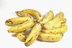 Eleven Yellow Ripe Bananas in Random Formation Royalty Free Stock Images