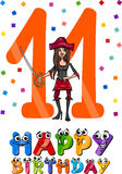 Eleventh birthday cartoon design Stock Images