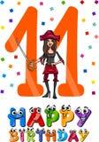 Eleventh birthday cartoon design Stock Images