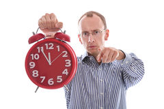 Eleventh hour - stressed man pointing at camera isolated on whit Royalty Free Stock Photos