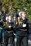 Elever av polisen för Moskvakadettkår Arkivfoton