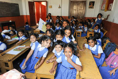 Elever i klassrum på dem skola av fortet Cochin Royaltyfri Foto
