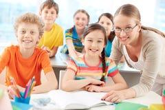 Elever och lärare Arkivbilder