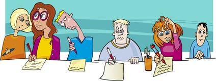 Elever och svår provexamen royaltyfri illustrationer