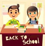 Elever under klassrum på grundskolan Schoolgirlen som lyfter henne, räcker Skolpojken skriver i anteckningsbok Barn på stock illustrationer