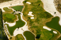 Elevevated view of golf course Stock Photo