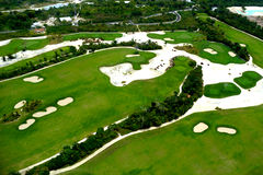 Elevevated view of golf course Stock Photos
