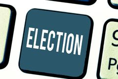 Elezione del testo della scrittura Scelta convenzionale ed organizzata di significato di concetto dal voto che dimostra per la ca fotografie stock