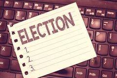Elezione di scrittura del testo della scrittura Scelta convenzionale ed organizzata di significato di concetto dal voto che dimos fotografie stock libere da diritti