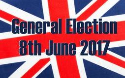 Elezione generale 8 giugno 2017 sulla bandiera BRITANNICA fotografie stock libere da diritti