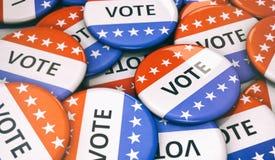 Elezione: Mucchio casuale dei bottoni di VOTO immagine stock libera da diritti