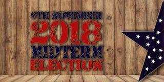 Elezione testo trimestrale del 6 novembre su fondo di legno fotografie stock