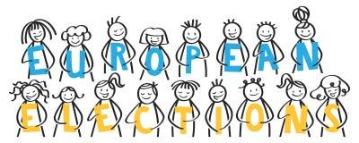 Elezioni europee, la gente del bastone che tiene le lettere blu e gialle, insegna royalty illustrazione gratis