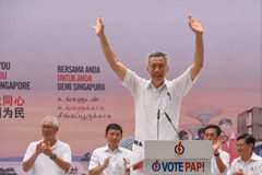Elezioni generali 2015 di Singapore: PAP Landslide Victory fotografie stock
