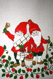 Elf. Two elf the old Christmas table cloth Royalty Free Stock Photos