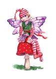 Elf auf einem roten Pilz Stockbilder