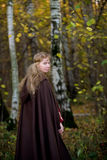 The elf in the autumn forest. The blonde girl in medieval dress in the autumn forest Stock Image
