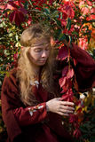 The elf in the autumn forest. The blonde girle in medieval red dress in the autumn forest Stock Photos