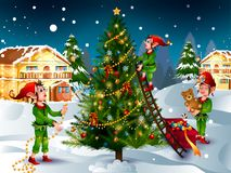 Elf avec le cadeau à l'arrière-plan d'hiver pour la célébration de vacances de Joyeux Noël illustration de vecteur