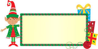 Elf Banner. Cute elf with a festive banner. Eps10 Royalty Free Stock Image