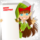 Elf with a banner for your congratulation Stock Photo