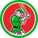 Elf Baseball Player Bat Circle Cartoon Royalty Free Stock Images