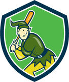 Elf Baseball Player Batting Shield Cartoon. Illustration of an elf  baseball player batter hitter batting with bat done in cartoon style set inside shield crest Stock Photo