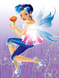 Elf with blue hair Royalty Free Stock Image